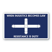 Eureka Flag When Injustice Becomes Law sticker 120mm qlty water&fade proof vinyl