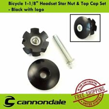 """Cannondale Bicycle 1-1/8"""" Headset Star Nut & Top Cap Set - Black with logo"""