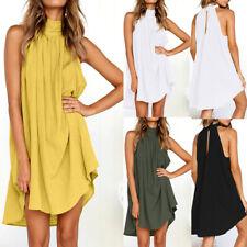 Summer Beach dresses For women holiday Irregular Elegant Sleeveless Dress AU