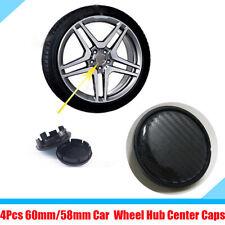 4Pcs/Set Car Wheel Center Hub Caps Cover 60mm/58mm Black Carbon Fiber Pattern