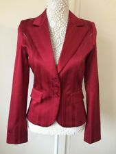 Ladies Vila Kaye Red Striped Satin Feel Blazer - Size S
