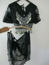 belly dance costume top and wrap skirt semi sheer black beaded coin