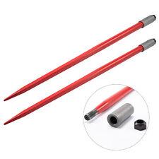 2pcs 49 4500lbs Hay Spears Nut Sleeve Bale Spike Fork Tine Pair Skidsteer