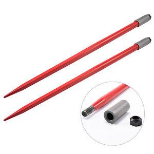 """2PCS 49"""" 4500lbs Hay Spears Nut Sleeve Bale Spike Fork Tine pair Skidsteer"""
