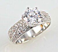 Elegant Women Round Cut 2.25ct White Sapphire 925 Silver Wedding Ring Size 6-10