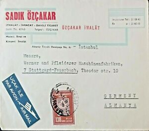 1963 Turkey Germany  Cover sent from İstanbul  to  firma Werner Stuttgart