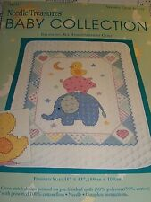 BALANCING ACT Stamped Cross Stitch Baby Quilt Crib 35x43 Fabric Only - JCA New