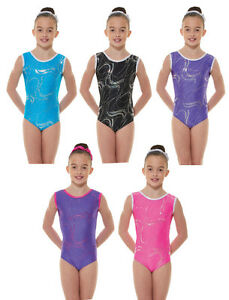 Nylon/Sparkly Foil Girls Gymnastics Sleeveless Leotard Gym Dancewear Age 4-12