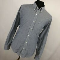 Vince L Large Shirt Blue White Stripe Button Down Front Collar Long Sleeve V6