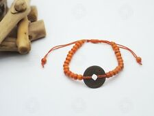 Orange Feng Shui Bracelet Bali Talisman Good Luck Chinese Coin Yoga Amulet Hand