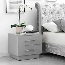 Fossano Modern Grey/White Stylish High Gloss Bedside Table