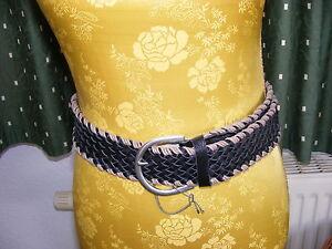 Damen Ledergürtel geflochten 100 cm schwarz Gr. 42 NEU EVELIN BRANDT