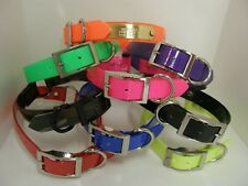 """Dog Collar 21"""" FREE Name Plate Tracking collar pet id collar puppy dayglo hound"""