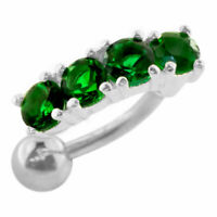 Emerald Color Moving Jeweled Design Navel Ring