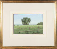 20th Century Gouache - In the Fields with Cows
