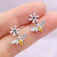 Fashion Bee & Flower 925 Silver,Gold Stud Earrings Women White Sapphire Jewelry