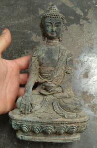 collectable Old earth Terracotta antique Bronze Shakyamuni Sit Buddha Statues