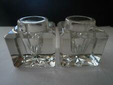 2 anciens encriers carrés en verre - 4,7 cm