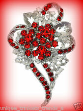 Pin~Mothers Day Gift For Mom Her Rose Red Rhinestone Flower Heart Silver Brooch
