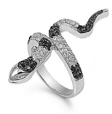 .925 Sterling Silver Snake Cocktai Ring with Black & Clear Cubic Zirconia Size 6