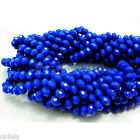 Wholesale 50Pcs Opaque Blue Faceted Crystal Rondelle Loose Spacer Beads DIY 8mm