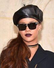 Calidad De Cuero Negro Boina señoras para mujer Moda Sombrero #Rhianna #Gigi Talla S-M