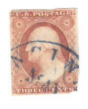 Scott 11  3 cent... Washington...1851-57..BlueTown Cancel