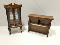 Miniature Doll House Furniture Set Vintage - Piano and China Cabinet