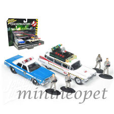JOHNNY LIGHTNING JLCP7041 GHOSTBUSTERS ECTO 1A & DODGE MONACO 1/64 with FIGURE