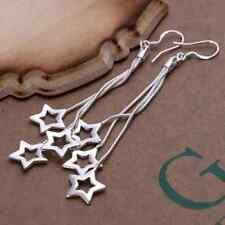 Damen Ohrhänger 3 Sterne 925 Sterling Silber plattiert Stern Ohrringe