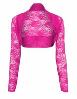 Womens Ladies Open Bolero Long Sleeves Floral Lace Cardigan Shrug Top Plus Sizes