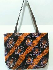 AFRICAN CLOTH ORANGE PURPLE AND DARK BROWN PATTERN TOTE BAG