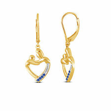 Perfect Gift Blue Sapphire Mother & Child Earrings in Yellow Gold On 925 Silver