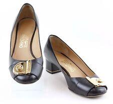 "Ferragamo Sz 7B Black Leather Gold Buckle Heel Chain 1.5"" Heel Pumps /F014"