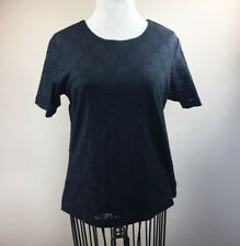 Womens Denim & Company Medium Black Lace Top Short SLeeves Lined