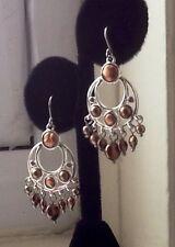 NEW LIZ CLAIBORNE CHANDELIER DANGLE EARRINGS Silver w/ Copper & Bronze Pearls