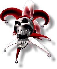 Vinilo STICKER/DECAL pequeño 90mm bufón riendo Cráneo Rojo-mirando hacia la izquierda