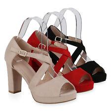 Damen Sandaletten High Heels Blockabsatz Plateau Party 834655 Schuhe