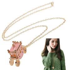 Carriage Princess Pendant Necklace Us&Hk New Rhinestone Light Pink Small Pumpkin