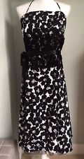 GINA BACCONI Black & White Floral Print Full Dress Size 14 Netting Lace Waist