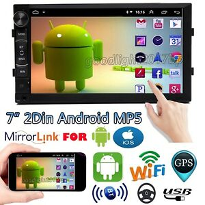 Double 2Din Android Car Stereo MP5 Player GPS Navi AM FM Radio WiFi +Back Camera