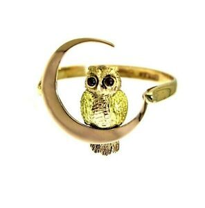 Edwardian 9ct 9k Gold Ruby Owl Crescent Moon Ring Size 8 - P 1/2