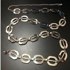 Cintura donna in metallo argentato sottile catena maglia ovali  100 cm lunghezza
