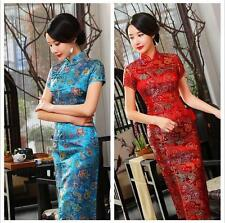 red  Chinese Style rwomen's silk/satin evening Dress/long Cheong-sam sz:S- xxxl