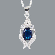 Stunning 18K White Gold Plated CZ Blue Sapphire Oval Cut Pendant Necklace