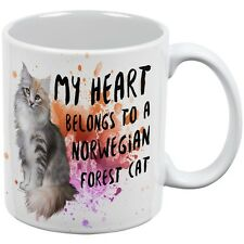 My Heart Belongs Norwegian Forest Cat White All Over Coffee Mug