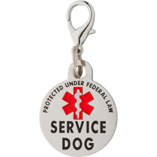 K9King Service Dog Tag Double Sided Federal Protection with Red Medical Alert ID