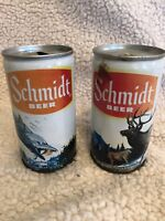 SCHMIDT BEER -2 Vintage Empty 12 oz. FISH FLYFISHING ELK DEER SCENE Beer Cans