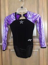 Youth Girls Purple Black Gymnastics Leotard ~Kids Size L ~ ALPHA FACTOR