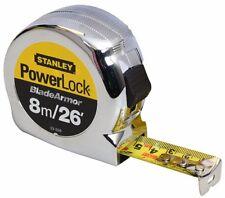 Stanley 8m 26ft CHROME Powerlock Ruban de mesure Mylar Revêtu + CLIP CEINTURE